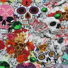 Tissu jersey Death in roses - multicolore x 37cm