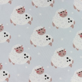 Counting sheep Jersey fabric - sky blue x 10cm