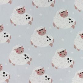 Tissu jersey Compter les moutons - bleu ciel x 10cm
