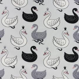 Tissu jersey Le cygne royal - gris x 10cm