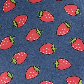 Strawberries jean fabric - blue x 10cm