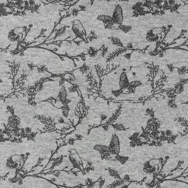 Tissu jersey L'oiseau sur la branche - gris x 10cm