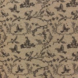 Tissu jersey L'oiseau sur la branche - camel x 10cm