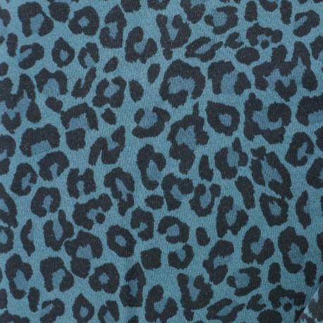 Leopard jersey fabric - green x 10cm