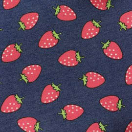 Strawberries jean fabric - dark blue x 10cm