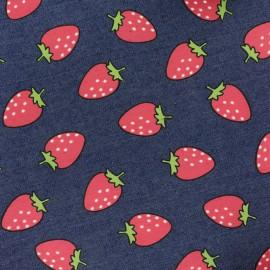 Tissu jean Strawberries - bleu foncé x 10cm