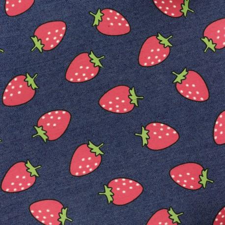 Strawberries jean fabric - blue x 10cm