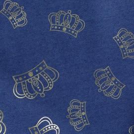 Tissu jean Crowns - bleu x 10cm