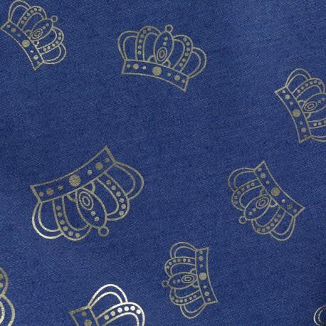 Crowns jean fabric - blue x 10cm