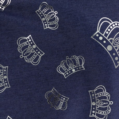 Crowns jean fabric - dark blue x 10cm