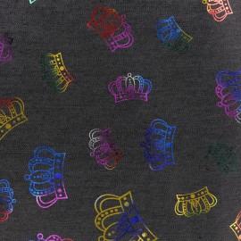 Tissu jean Crowns - noir x 10cm