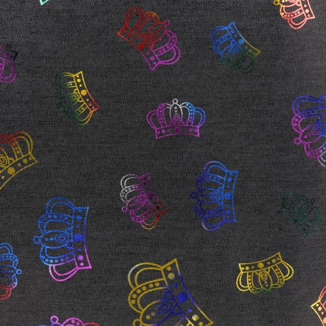 Crowns jean fabric - black x 10cm