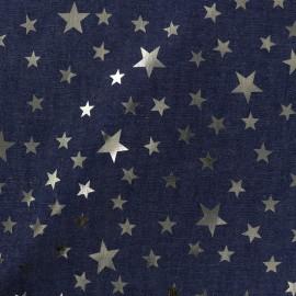 Tissu jean fluide Détail doré - étoile bleu foncé x 10cm