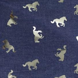 Tissu jean fluide Détail doré - cheval bleu foncé x 10cm