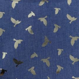 Tissu jean fluide Détail doré - oiseau bleu x 10cm
