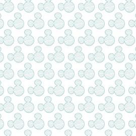Tissu coton Disney Mickey Mouse heads - blanc/vert d'eau x 10cm