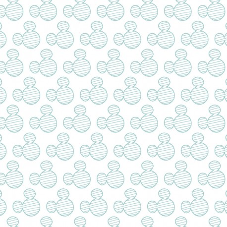 Cotton fabric Disney Mickey Mouse heads - white/green  x 10cm