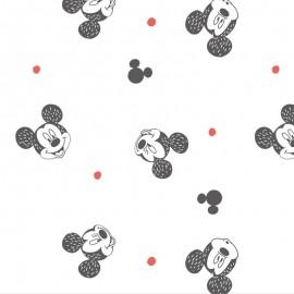 Cotton fabric Disney Mickey Mouse smiling - white  x 16cm