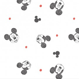 Tissu coton Disney Mickey Mouse smiling - blanc x 16cm