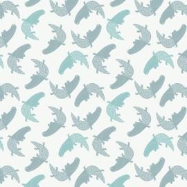 ♥ Coupon 200 cm X 110 cm ♥Cotton fabric Camelot fabrics Crocodiles in White  - white