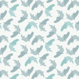 Cotton fabric Camelot fabrics Crocodiles in White  - white x 13cm
