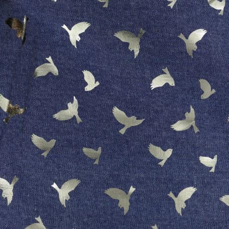 Tissu jean fluide Détail doré - oiseau bleu foncé x 10cm