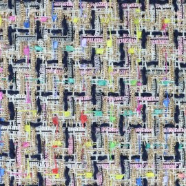 Tissu Tweed Carnaval - multi noir x 10cm