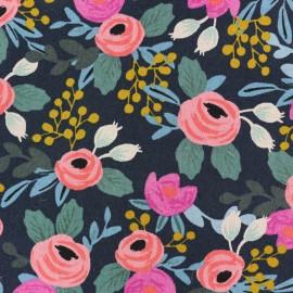 Tissu toile de coton Cotton Steel Rifle Paper Co. Fleurs - noir x 30cm