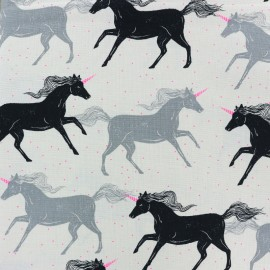 Magic Forest Cotton Steel fabric I hear Unicorns - white x 15cm