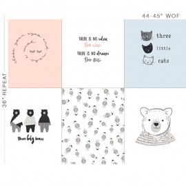 Tissu Coton AGF Make a wish - blanc/rose x 92cm