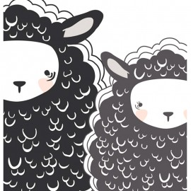 ♥ Coupon 184 cm X 110 cm ♥ Tissu Coton AGF Capsules Nest One, Two Sheep - blanc/noir