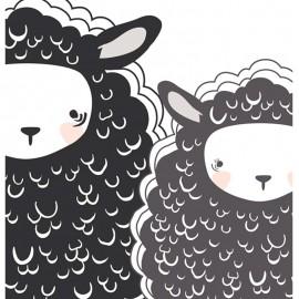 ♥ Coupon 90 cm X 110 cm ♥ Tissu Coton AGF Capsules Nest One, Two Sheep - blanc/noir