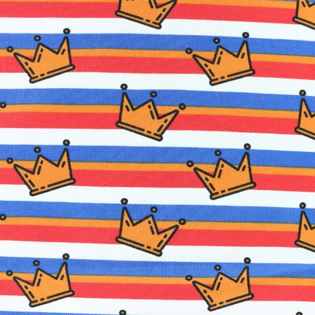 Tissu jersey King of Stripes - couronnes