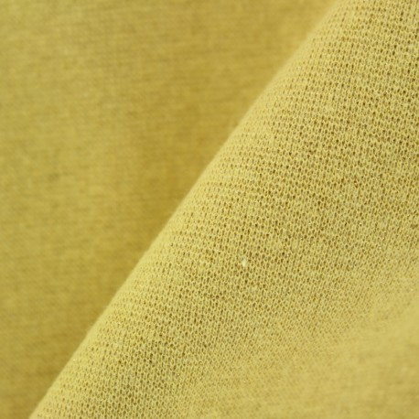Paillette légère Knitted Jersey tubular edging fabric - yellow x 10cm