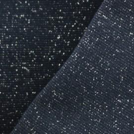 Jersey tubulaire bord-côte Paillette légère Oeko-tex  - bleu nuit/argent x 10cm
