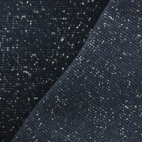 Paillette légère Knitted Jersey tubular edging fabric - midnight blue/silver x 10cm