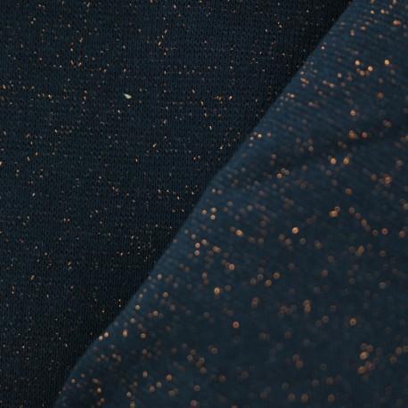 Jersey tubulaire bord-côte Paillette légère - bleu nuit/cuivre x 10cm