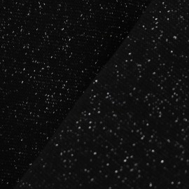 Jersey tubulaire bord-côte Paillette légère Oeko-tex  - noir/argent x 10cm