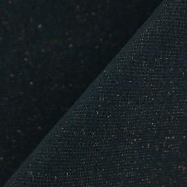 Jersey tubulaire bord-côte Paillette légère - noir/cuivre x 10cm