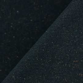 Paillette légère Knitted Jersey tubular edging fabric - midnight black/copper x 10cm