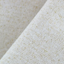 Jersey tubulaire bord-côte Paillette légère - ecru/or x 10cm