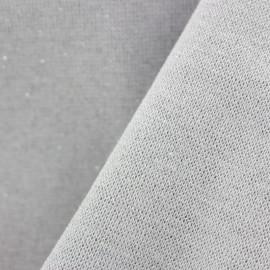 Jersey tubulaire bord-côte Paillette légère Oeko-tex  - gris clair/argent x 10cm
