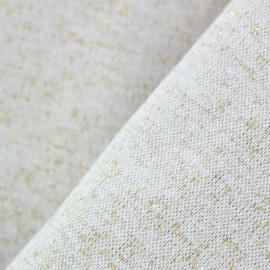 Jersey tubulaire bord-côte Paillette légère Oeko-tex  - beige/or x 10cm