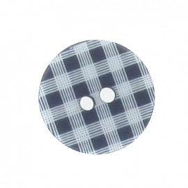Button, gingham - navy blue