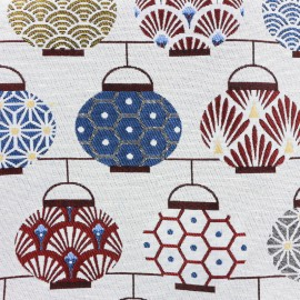 Tissu toile jacquard Lampions - multicolore x 10cm