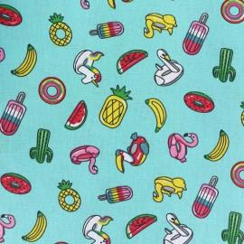 Tissu coton cretonne Jolie bouée - turquoise x 10cm
