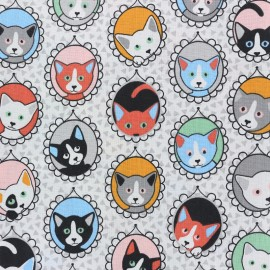 Cretonne cotton Fabric Portrait de chat - white x 10cm