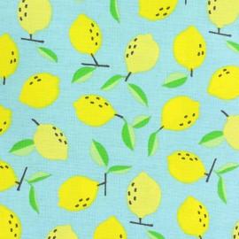 Tissu coton cretonne Petit Citron - bleu ciel x 10cm
