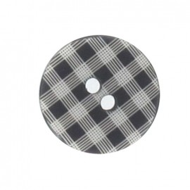 Button, gingham - black