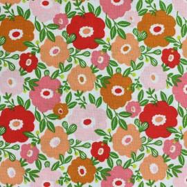 Tissu coton cretonne Camille - blanc/pomelos x 10cm